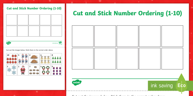 Christmas Themed Cut and Stick Number Ordering Sheets - christmas, cut, stick, number, ordering