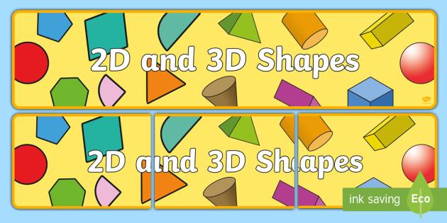 2D and 3D Shapes Banner - 2D shapes, 3D shapes, shapes, banner