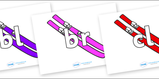 Initial Letter Blends on Skis - Initial Letters, initial letter, letter blend, letter blends, consonant, consonants, digraph, trigraph, literacy, alphabet, letters, foundation stage literacy