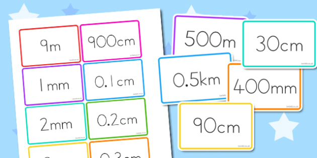 MM, CM, M, KM Equivalents Matching Cards - australia, matching