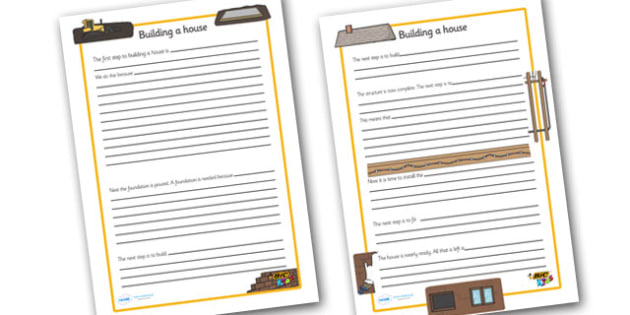 Construction Writing Frames - BIC picture, houses and homes, writing template, house, home, Word cards, Word Card, flashcard, flashcards, brick, stone, detached, terraced, bathroom, kitchen, door, caravan, where we live, ourselves