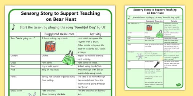 Sensory Story to Support Teaching on Bear Hunt  - were going on a bear hunt, were going on a bear hunt sensory guide, were going on a bear hunt lesson plan, sen