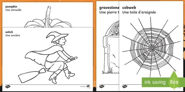 Halloween Colouring Pages Englishfrench Halloween Colouring