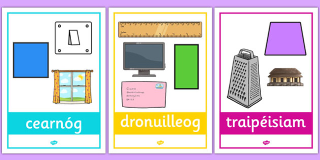 2D Shape Posters with Everyday Examples Gaeilge - gaeilge, 2d shape, posters, display, everyday