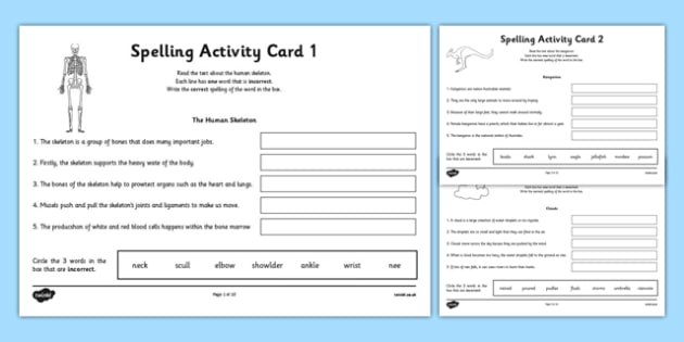 Australia - Year 3 Spelling Mistake Activity Cards - australia, year 3, spelling mistake, activity, cards