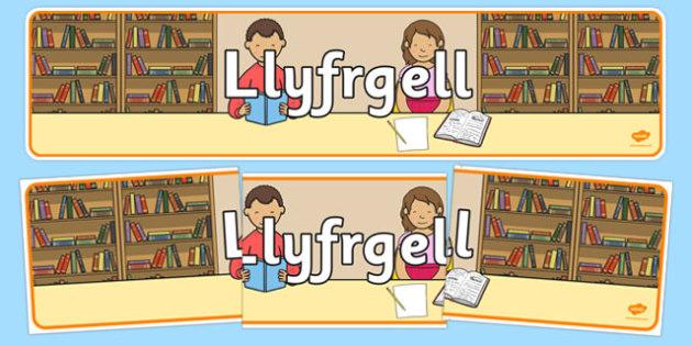 Baner Llyfrgell yr ysgol - welsh, cymraeg, Cyfnod Sylfaen, Llyfrgell, Baner Arddangos