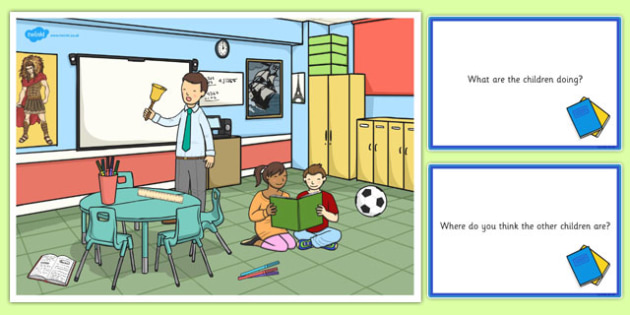 School Scene and Question Cards - school, questions, comprehension pack