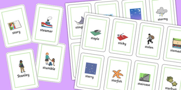 Two Syllable 'st' Blend Playing Cards - st sound, playing cards, cards