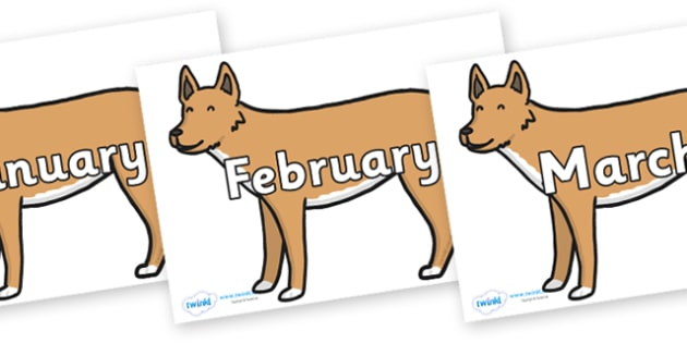 Months of the Year on Dingo - Months of the Year, Months poster, Months display, display, poster, frieze, Months, month, January, February, March, April, May, June, July, August, September