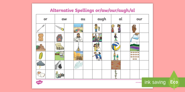 New Alternative Spellings Or Aw Our Augh Al Table Activity