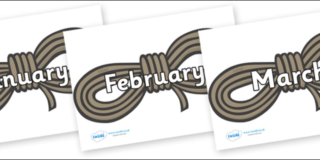 Months of the Year on Ropes - Months of the Year, Months poster, Months display, display, poster, frieze, Months, month, January, February, March, April, May, June, July, August, September