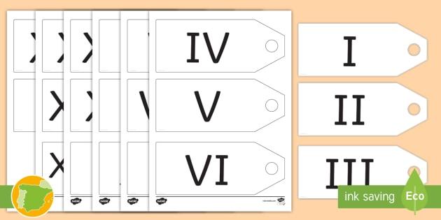 Etiquetas Números Romanos 1 20 Romanos Historia Numeración
