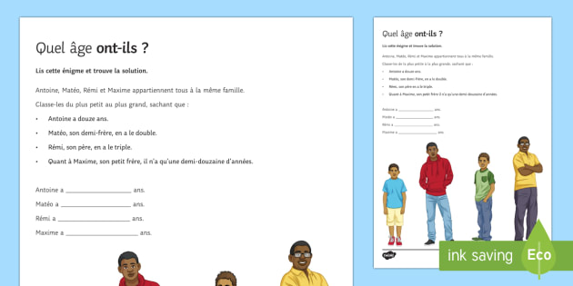 Énigme : Quel âge ont-ils ? - french, Reading, lecture, age, personal identification