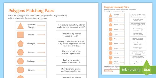 Regular Polygons Matching Pairs Worksheet Activity Sheet