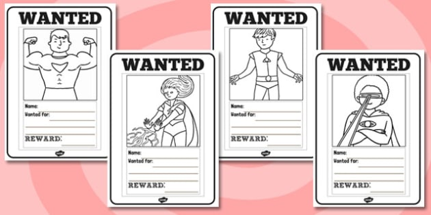 Superheroes Wanted Posters Colouring Sheets - Superhero, superheroes, display, poster, wanted, colouring, sheets, colour, fine motor skills, poster, worksheet, vines, A4, hero, batman, superman, spiderman, special, power, powers, catwoman, liono, he-