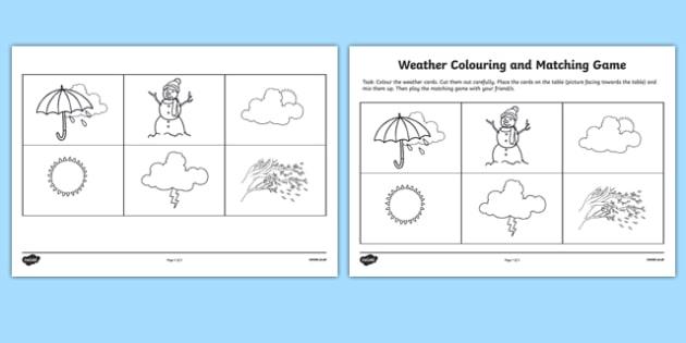 Weather matching game worksheet activity sheet weather weather matching game worksheet activity sheet weather matching game match game ccuart Gallery