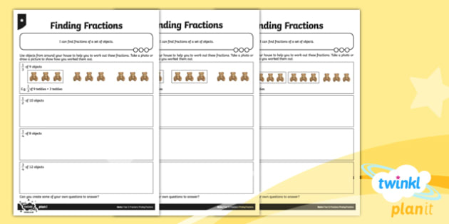 PlanIt Maths Y3 Fractions Finding Fractions Home Learning