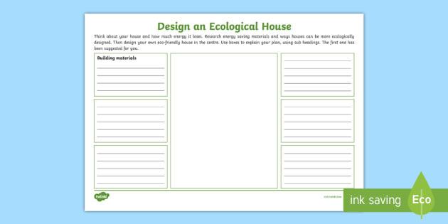 design an ecological house worksheet activity sheet. Black Bedroom Furniture Sets. Home Design Ideas