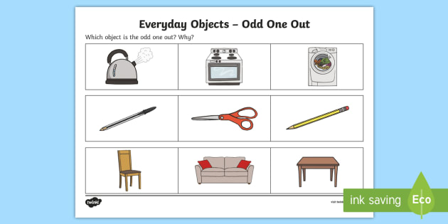 Everyday Objects Odd One Out Activity Sheet - Odd One Out, Worksheet, different, spot the difference, describe, description, difference, between,