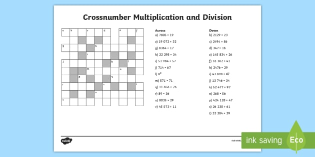 Uks Crossnumber Multiplication And Division Worksheet