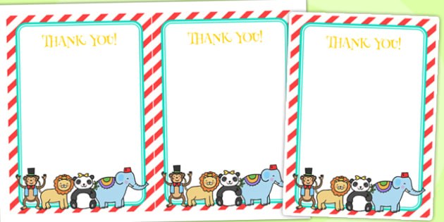 Animal Themed Birthday Party Thank You Cards - birthdays, parties