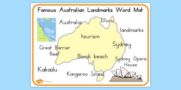 Australia Map Landmarks.Famous Australian Landmarks Word Mat Australia Landmarks