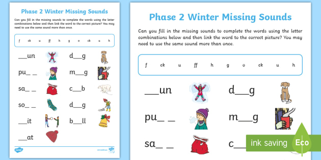 NEW Phase 2 Winter Missing Sounds Worksheet