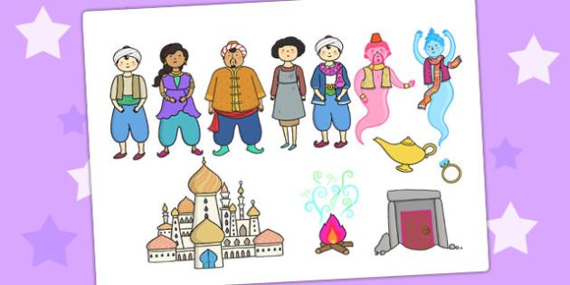 Aladdin Story Cut Outs - aladdin, story, cut outs, visual aids