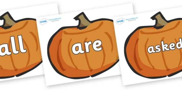 Tricky Words on Pumpkins - Tricky words, DfES Letters and Sounds, Letters and sounds, display, words