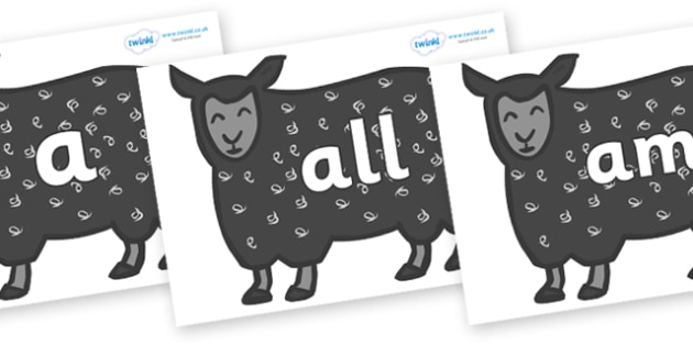 Foundation Stage 2 Keywords on Black Sheep to Support Teaching on Brown Bear, Brown Bear - FS2, CLL, keywords, Communication language and literacy,  Display, Key words, high frequency words, foundation stage literacy, DfES Letters and Sounds, Letters