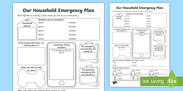 Our Household Emergency Plan Activity Sheet - New Zealand Natural Disasters, earthquake, tsunami, volcano, monsoon, hurricane, flood, tornado