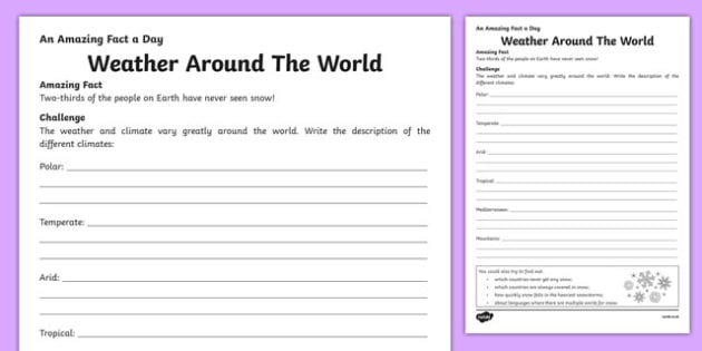 Weather Around The World Activity Sheet, worksheet