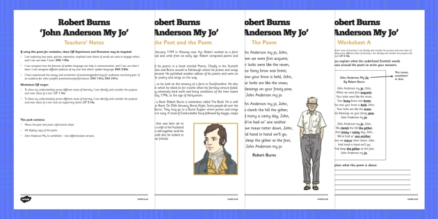 Scots Poetry 'John Anderson, My Jo' by Robert Burns - curriculum for excellence, poetry, robert burns