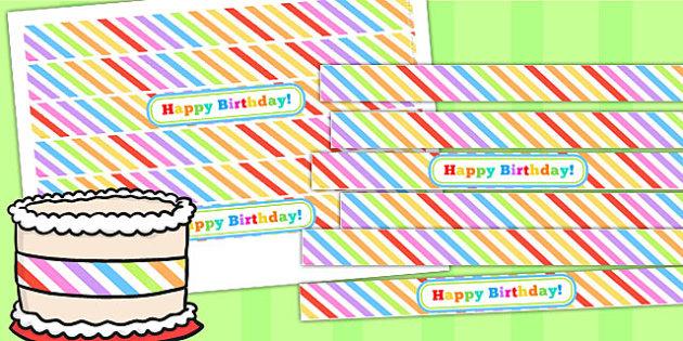 Rainbow Themed Birthday Party Cake Ribbon - parties, birthdays