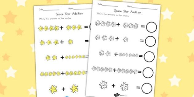 Star Addition Sheet - Adding, Numeracy, Worksheets, Worksheet