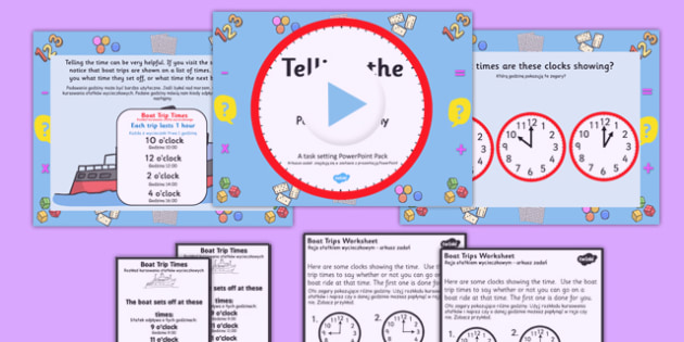Telling the Time Boat Trip Times PowerPoint Task Setter Polish Translation - polish, telling the time, clocks, time telling, boat trips, time telling task setter, boat timetables
