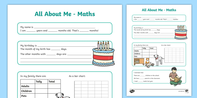 All About Me Maths Display Poster Worksheet Year 34 all about – All About Me Worksheet