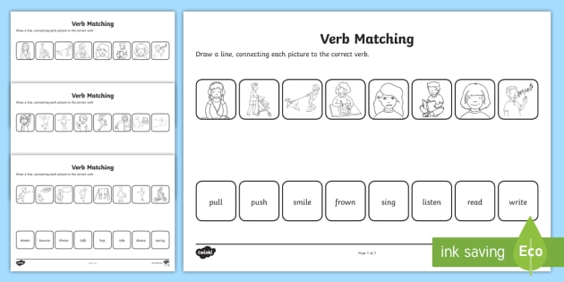 Verbs Matching Worksheet - Primary Resources (teacher Made)