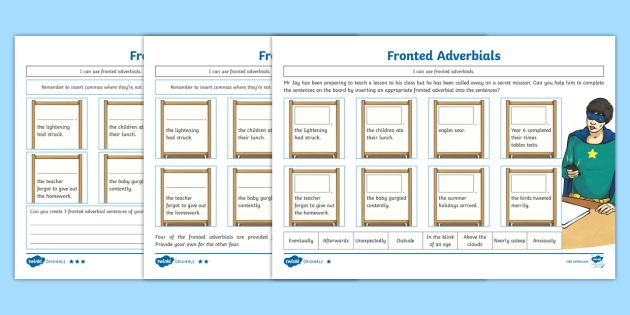 ks2 superhero story fronted adverbials differentiated worksheet worksheets. Black Bedroom Furniture Sets. Home Design Ideas