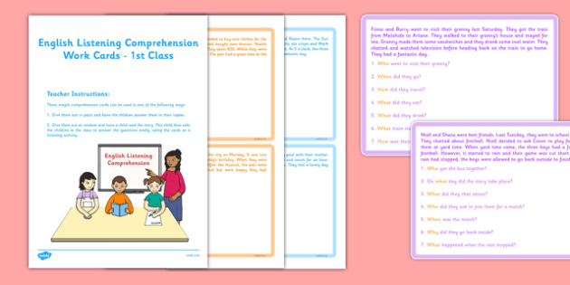 English Listening Comprehension Cards 1st Class - roi, irish, gaeigle