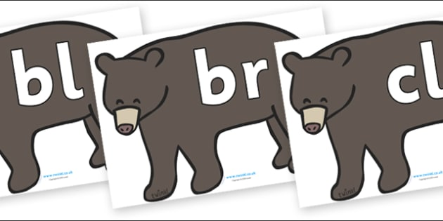 Initial Letter Blends on Grizzly Bears - Initial Letters, initial letter, letter blend, letter blends, consonant, consonants, digraph, trigraph, literacy, alphabet, letters, foundation stage literacy