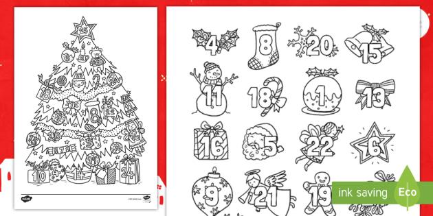 Christmas Mindfulness Colouring Advent Calendar English ...