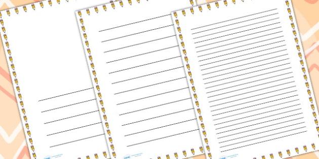 Smiley Pencil Page Borders - writing templates, writing border