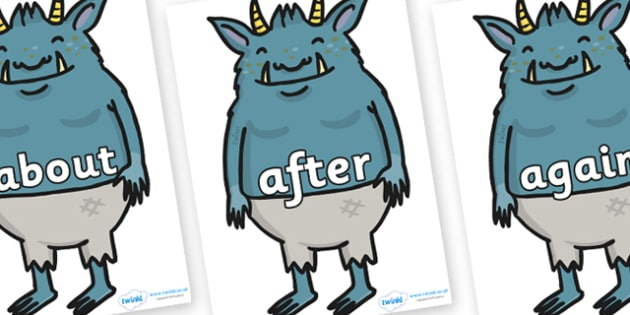 KS1 Keywords on Trolls - KS1, CLL, Communication language and literacy, Display, Key words, high frequency words, foundation stage literacy, DfES Letters and Sounds, Letters and Sounds, spelling