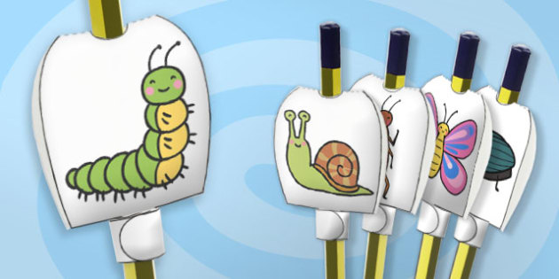 Minibeasts Themed Pencil Toppers - paper, pencil, tops, puppet