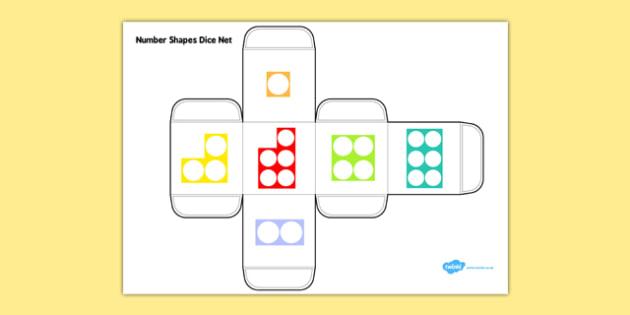 Number Shapes Dice Net - number shapes, dice net, dice, net, number, shapes