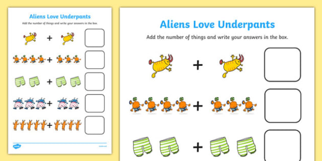 Addition Sheet to Support Teaching on Aliens Love Underpants -  aliens love underpants, addition sheet, addition, aliens love underpants addition sheet, worksheet