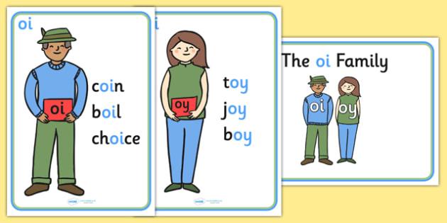 oi Sound Family Member Posters-oi, oi sound, sound families, oi sound family, sound posters, oi sound poster, poster, sounds, letters, words, literacy