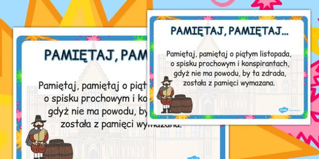 Plakat z wierszem Pamiętaj, pamiętaj... po polsku - historia , Polish