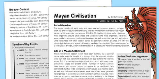 Mayan Civilisation History Fact Sheet for Adults - mayan civilisation